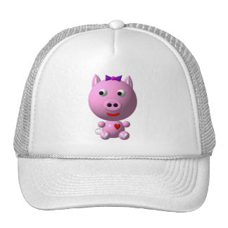 Cute little piggy with hearts and bow! cap