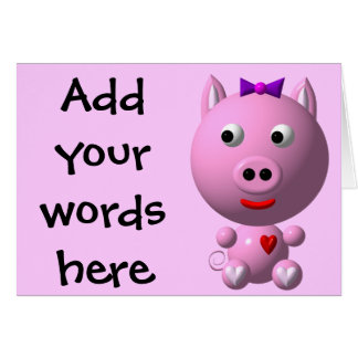 Cute little piggy with hearts and bow! cards