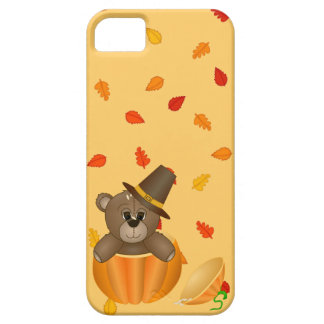 Cute Little Pilgrim Teddy Bear in a Pumpkin Barely There iPhone 5 Case