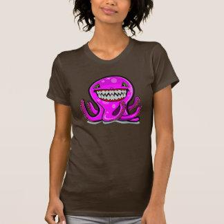 Cute little pink apple octopus in dark shirt