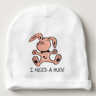 Cute little pink bunny that needs a hug. baby beanie