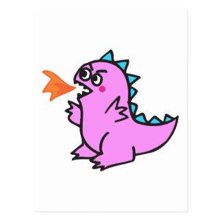 cute little pink fire dragon monster post card