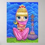 Cute Little Pink Genie Girl & Purple Magic Bottle Posters