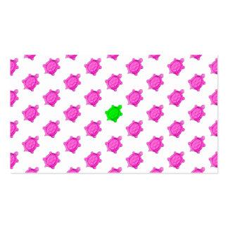 Cute Little Pink/Green Turtle Pattern Business Card Template