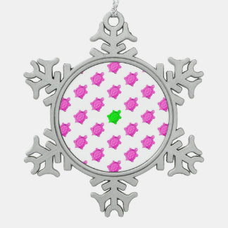 Cute Little Pink/Green Turtle Pattern Snowflake Pewter Christmas Ornament