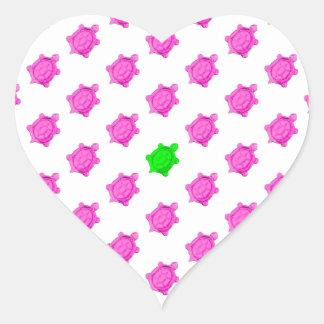 Cute Little Pink Green Turtle Pattern Heart Sticker