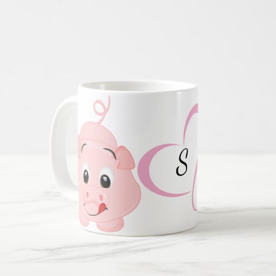 Cute Little Pink Piggy Monogrammed Coffee Mug