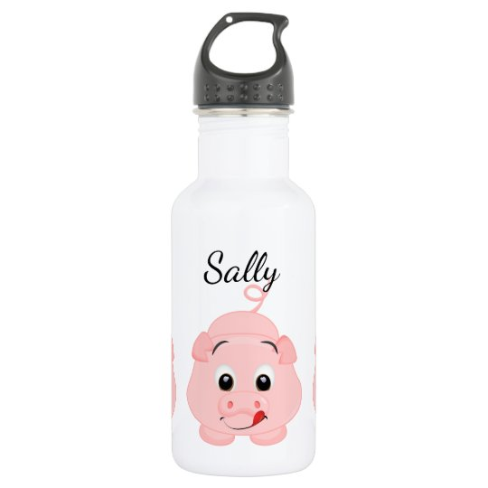 Cute Little Pink Piggy Personalised 532 Ml Water
