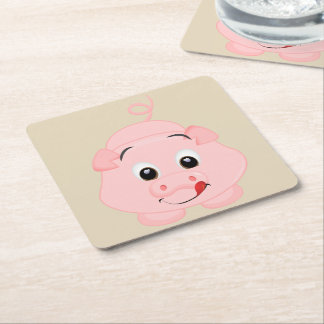 Cute Little Pink Piggy Square Paper Coaster