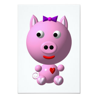 Cute little pink piggy with hearts and bow! 9 cm x 13 cm invitation card