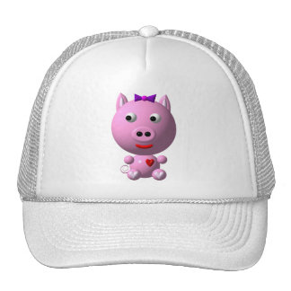 Cute little pink piggy with hearts and bow! cap