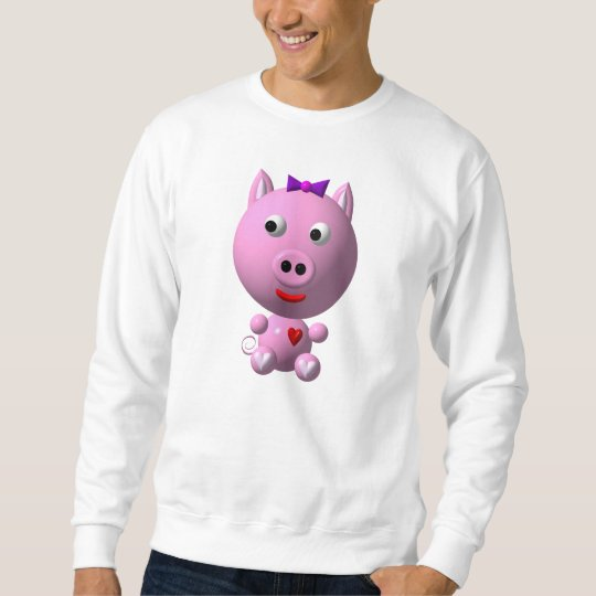 Cute little pink piggy with hearts and bow! sweatshirt