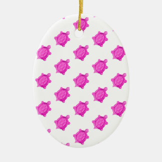 Cute Little Pink Turtle Pattern Christmas Ornament