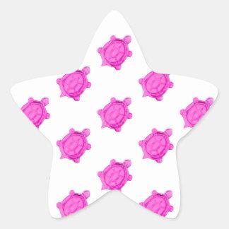 Cute Little Pink Turtle Pattern Star Sticker
