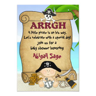 Cute Little Pirate Boys Baby Shower 13 Cm X 18 Cm Invitation Card