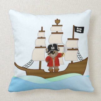 Cute Little Pirate Captain Teddy Bear Cartoon Cushion