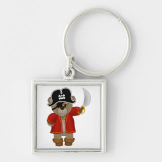 Cute Little Pirate Captain Teddy Bear Cartoon Key Ring