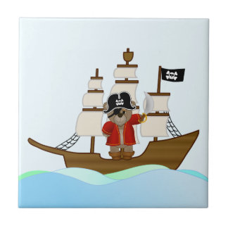 Cute Little Pirate Captain Teddy Bear Cartoon Tile