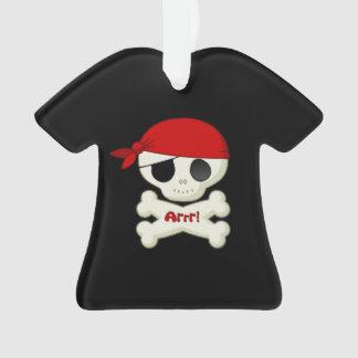 Cute Little Pirate Cartoon Skull and Crossbones Ornament
