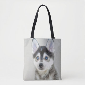 Cute Little Pomsky Puppy Tote Bag