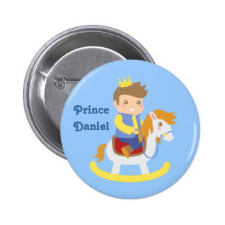 Cute Little Prince on Rocking Horse, for Boys Pinback Buttons
