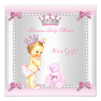 Cute Little Princess Baby Shower Girl Blonde Card