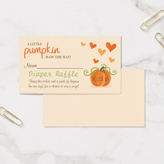 Cute Little Pumpkin Baby Shower Diaper Raffle Business