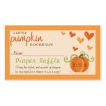 Cute Little Pumpkin Baby Shower Diaper Raffle Pack Of Standard Business Cards