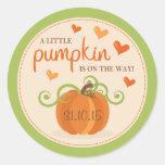 Cute Little Pumpkin Baby Shower Stickers