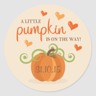 Cute Little Pumpkin Birth Announcement Stickers