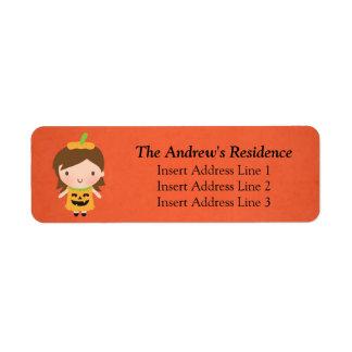 Cute Little Pumpkin Girl Kids Halloween Return Address Label
