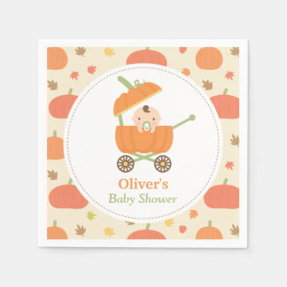 Cute Little Pumpkin Stroller Baby Shower Napkins Paper Serviettes