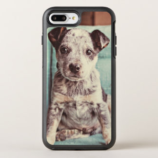 Cute Little Puppy On Teal Chair OtterBox Symmetry iPhone 8 Plus/7 Plus Case