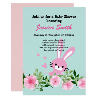 cute little rabbit baby shower invitation