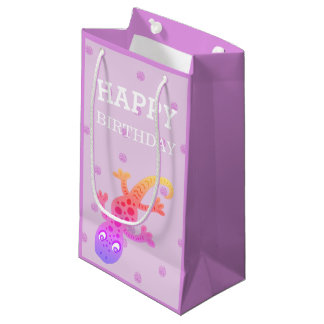 Cute Little Rainbow Gecko Lizard on Pink Small Gift Bag