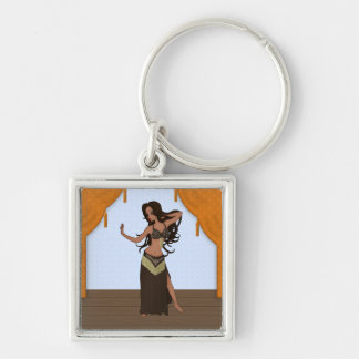 Cute Little Raqs Sharqi Bellydancer Silver-Colored Square Key Ring
