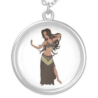 Cute Little Raqs Sharqi Bellydancer Silver Plated Necklace