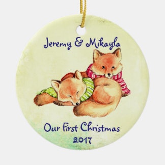 "Cute Little Red Foxes ""Our First Christmas"" Christmas Ornament"