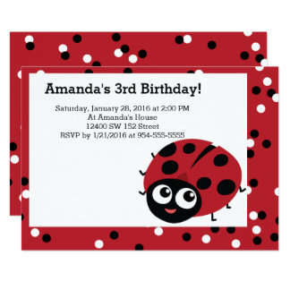 Cute LITTLE RED LADYBUG Animals Birthday 13 Cm X 18 Cm Invitation Card