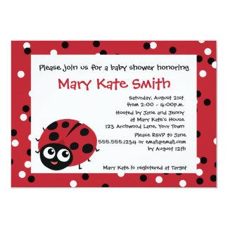 Cute Little Red Ladybug BABY SHOWER BIRTHDAY 13 Cm X 18 Cm Invitation Card