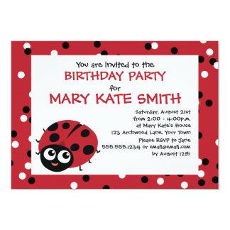 Cute Little Red Ladybug BIRTHDAY BABY SHOWER 13 Cm X 18 Cm Invitation Card