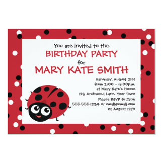Cute Little Red Ladybug BIRTHDAY BABY SHOWER Card