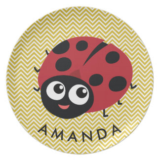 Cute Little Red Ladybug Personalized Plates