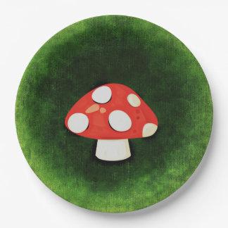 Cute Little Red Mushroom 9 Inch Paper Plate