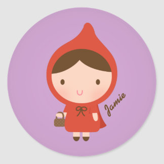 Cute Little Red Riding Hood Fairytale for Girls Round Stickers