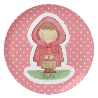 Cute Little Red Riding Hood For Girls Plate