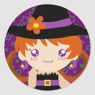 Cute Little Redhead Witch Girl Classic Round Sticker