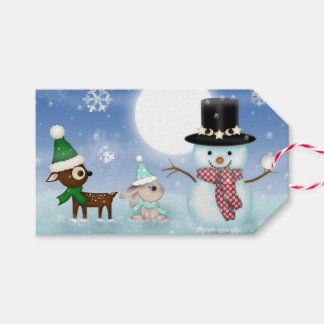 Cute Little Reindeer and Snowman Christmas Gift Tags