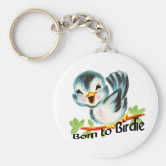 Cute Little Retro Bird Born to Birdie Golfers Gift Key Ring