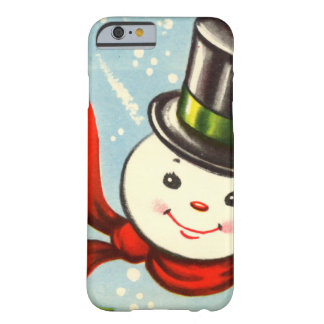 Cute Little Retro Snowman Barely There iPhone 6 Case
